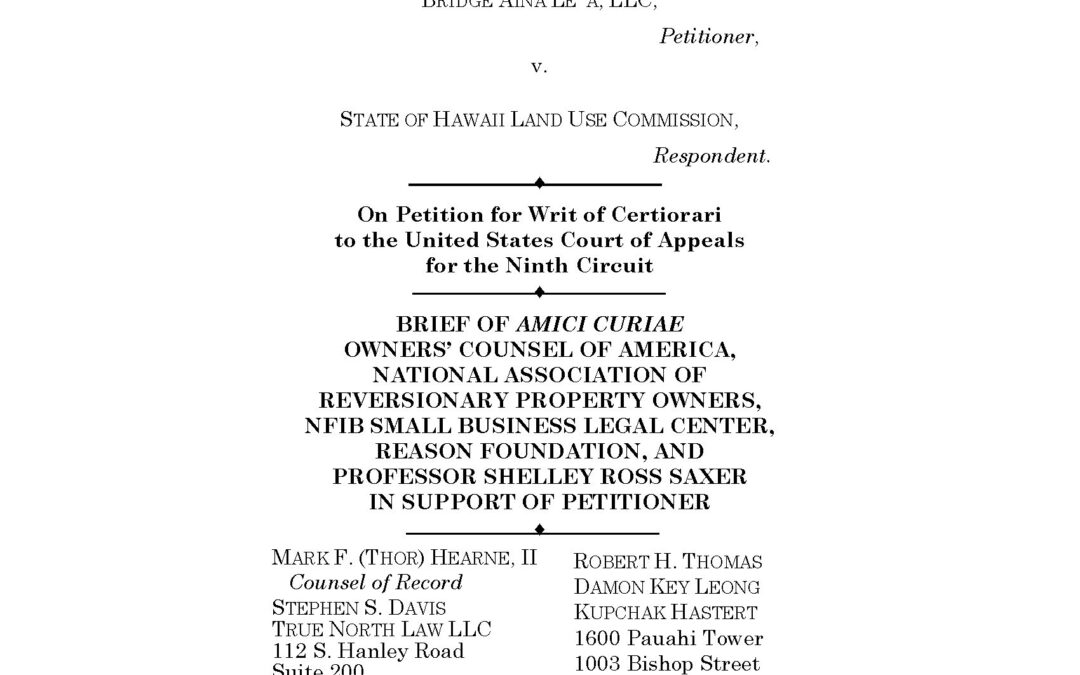 True North Law Files Amicus Brief In US Supreme Court On Behalf Of Property Owner