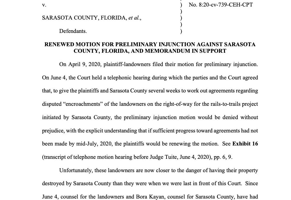 Sarasota Landowners Ask Federal Judge to Stop Removal of Private Property within Legacy Trail Right-of-way